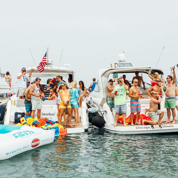 "At the Chicago Scene Boat Party, the largest ""raft up"" of the year at the Playpen, vessels are packed to capacity with booze and skin-baring party monsters."