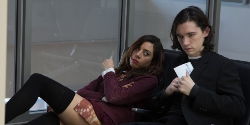 Aubrey Plaza and Liam Aiken in Ned Rifle