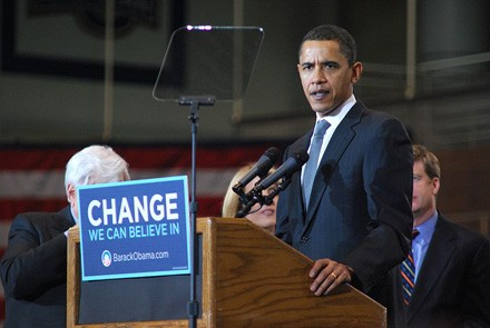 Barack Obama during his first presidential campaign