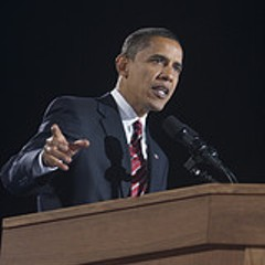 Barack Obama in Chicago on election night in 2008