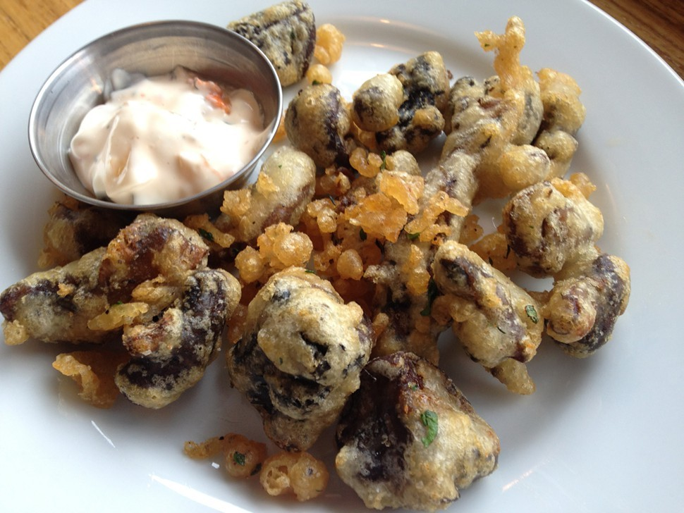 Beer battered mushrooms, River Valley Farmers Table