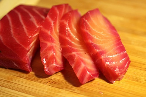 Beet-cured sashimi salmon