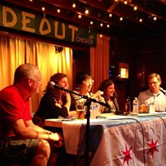 Ben Joravsky, Linda Lutton, Lauren FitzPatrick, Sarah Karp, and Mick Dumke talk schools and politics at the Hideout.