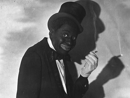 Bert Williams, the great black vaudevillian, performing in blackface