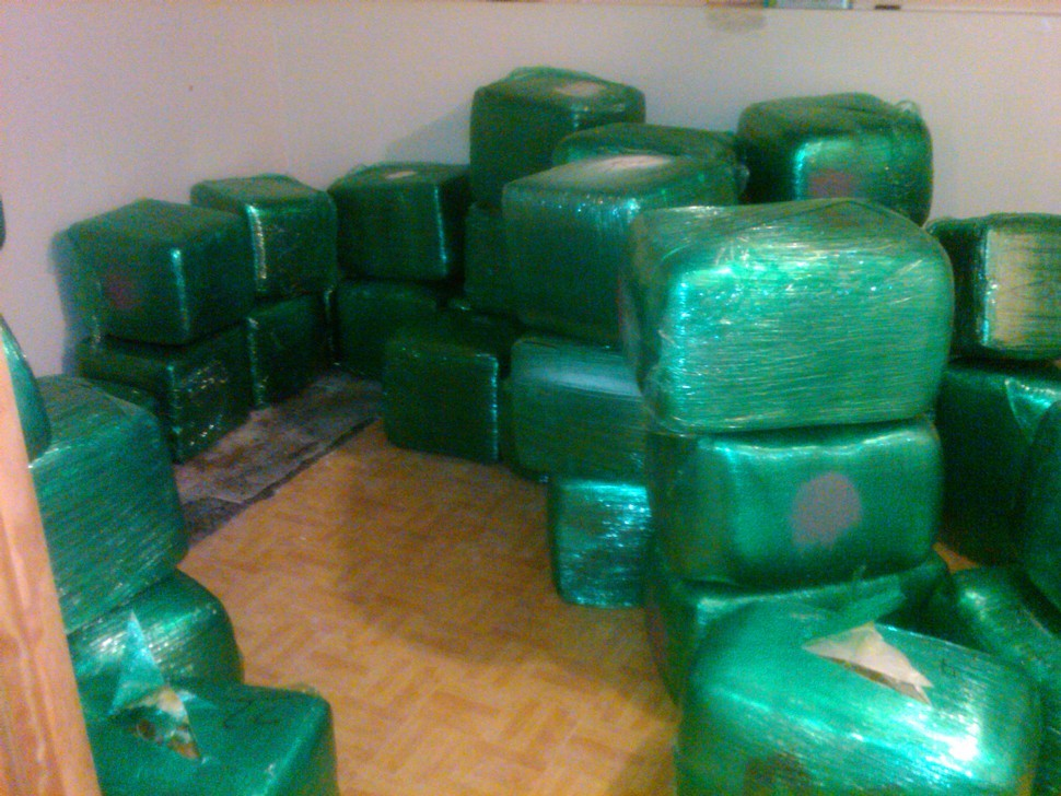 Blocks of marijuana seized by police--and displayed for reporters