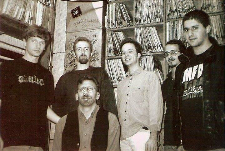 Bob Abrahamian at WHPK in the mid-90s—hes on the far right, in the KMFDM T-shirt.
