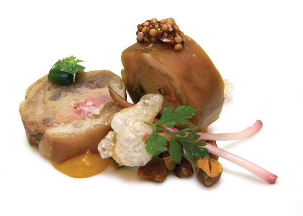 Braised pig's foot with white pudding, fried pork tendon, and ramp aspic - JEFFREY MARINI