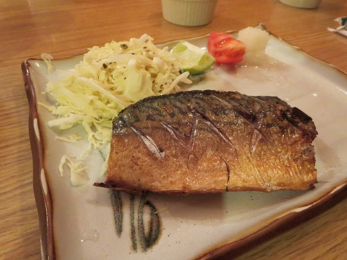 Broiled mackerel.