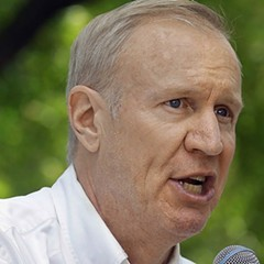 Bruce Rauner, speaking to supporters in August at the state fair in Springfield.