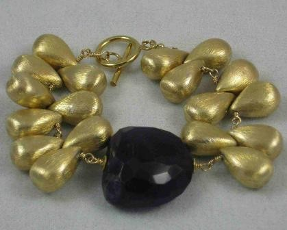 Brushed Gold Vermeil And Amethyst Bracelet By Susanne Siegel