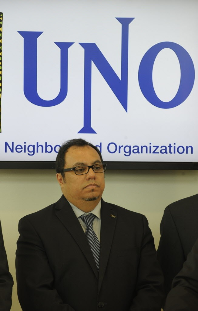 CEO Juan Rangel during a news conference at UNO Soccer Academy