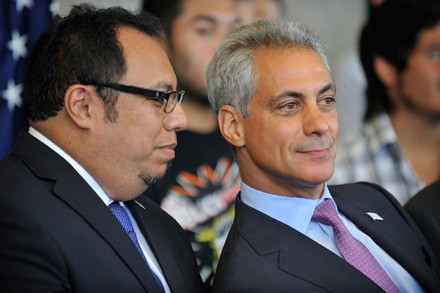 CEO of UNO Juan Rangel and Mayor Rahm Emanuel