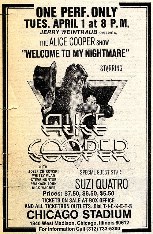 Chicago Reader @ Forty ads from the past: Alice Cooper, Suzie Quatro