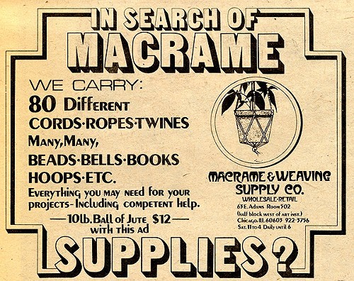Chicago Reader @ Forty ads from the past: macrame