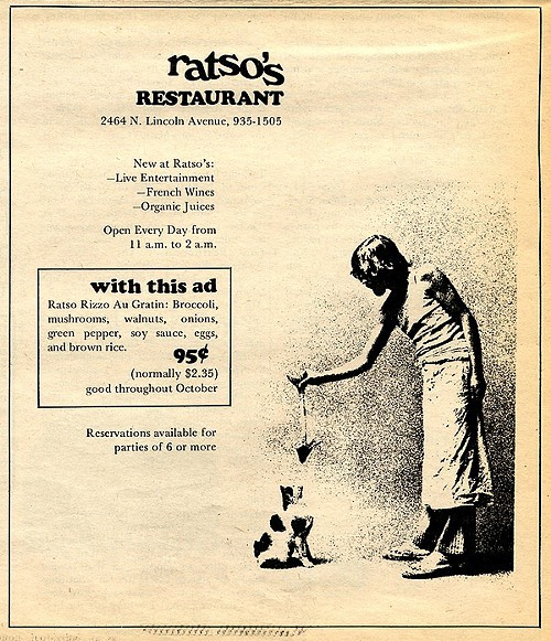 Chicago Reader @ Forty ads from the past: Ratsos Restaurant, Lincoln Avenue