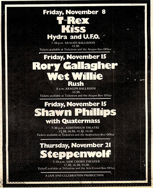 Chicago Reader @ Forty ads from the past: T-Rex, KISS
