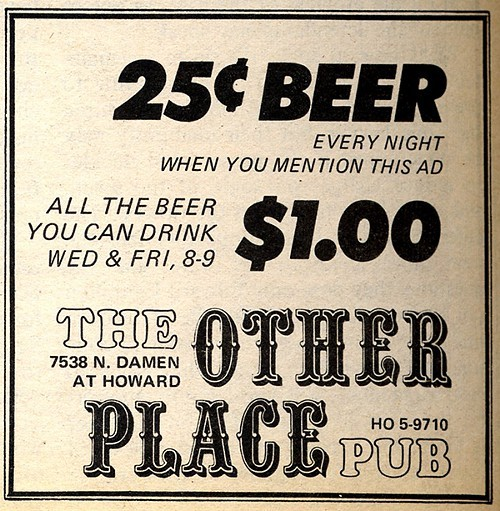 Chicago Reader @ Forty ads from the past: The Other Place Pub, 7538 N. Damen