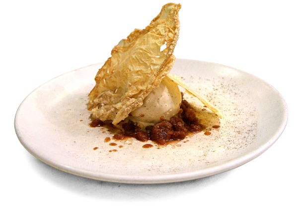 Chicory ice cream with coffee-chicory granita and fried tofu skins