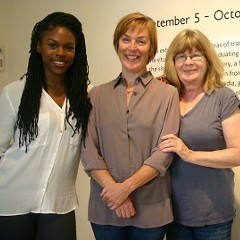 Claudine Isé, center, with gallery coordinator Sydney Stoudmire and founder Beate Minkovski