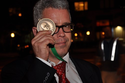 Cliff Doerksen with Beard medal