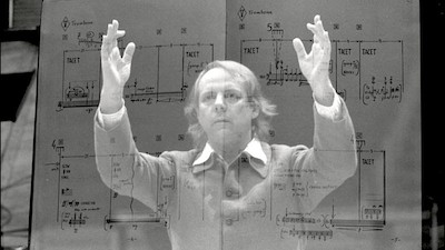Composer Karlheinz Stockhausen, and one of his scores, around 1980.