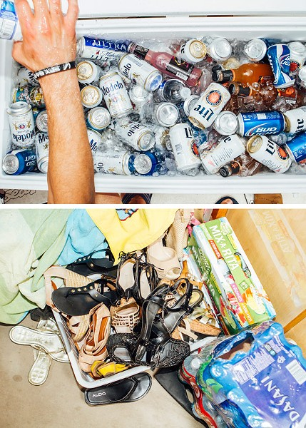 Cooler o' booze and bin o' shoes aboard Verry Necessary - JEFFREY MARINI