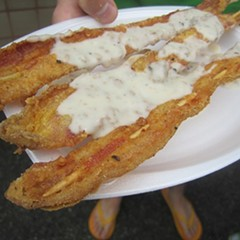 Country fried bacon with country gravy. On a stick.