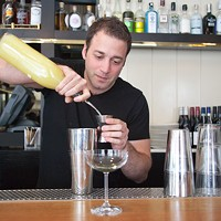 Johnny Costello Jr. of GT Fish & Oyster makes the Forager Crack an egg and pour the white into the bottom of a shaker, then add 3/4 oz Meyer lemon juice. Jacob Yeung