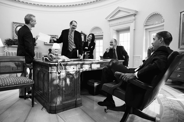 David Axelrod, then senior advisor to President Obama, in a 2009 meeting with the president and other members of the administration, including then chief of staff Rahm Emanuel.