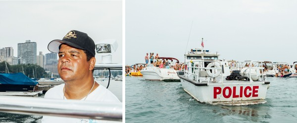 Deliveryman Dave Lobo keeps watch; a Chicago Police Department marine unit boat looms - JEFFREY MARINI