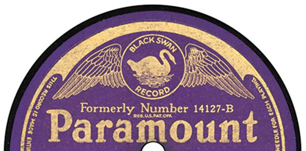 [detail image of Paramount Black Swan Record label]