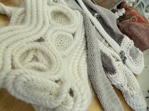 Detail: mohair crocheted around industrial rope