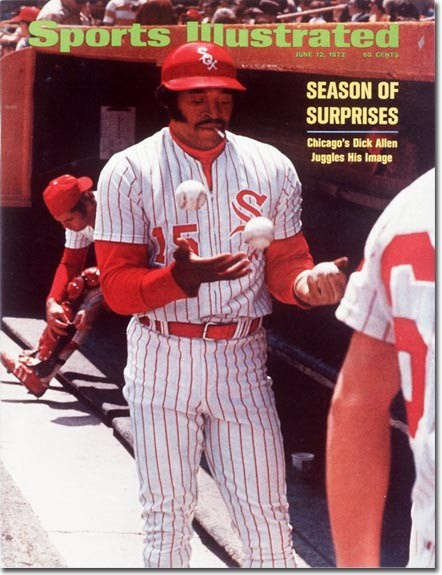 Dick Allen smoking and juggling in the Comiskey Park dugout: Ah, the 70s.