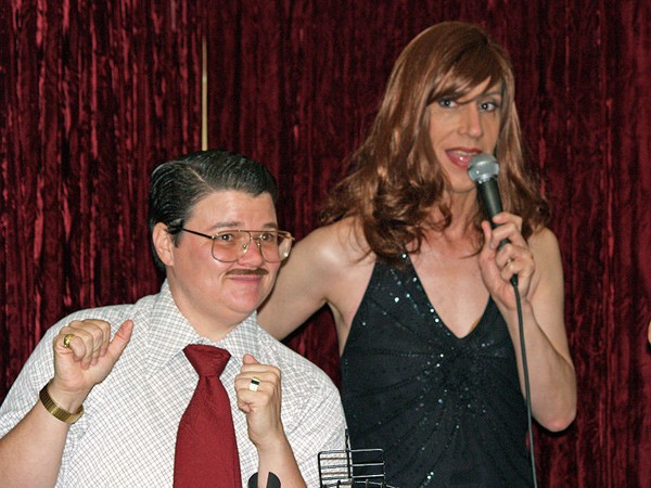 Drag artists Murray Hill and Linda Simpson