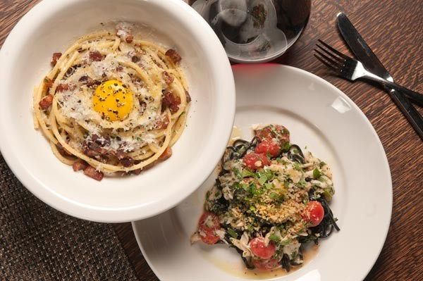 Duck egg carbonara and squid-ink chitarra with crabmeat at the Florentine