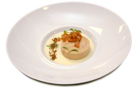Durian custard with foie gras, gingerbread, and marmalade
