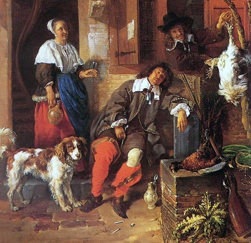 Dutch Baroque painter Gabriel Metsus The Sleeping Sportsman
