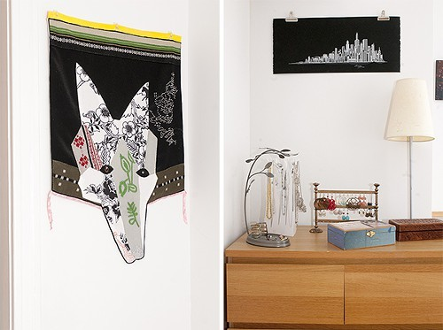Embroidered animal head from IKEA; Chicago skyline print from an Airbnb guest