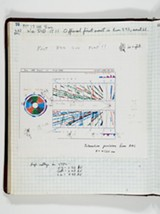 Fermilab log noting an early collision event - FERMILAB