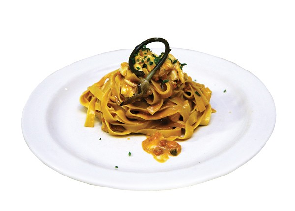 Fettucine with uni, lardo, crab, and pickled ramps - JULIA THIEL