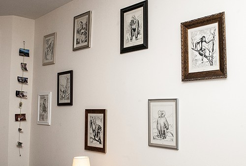 Framed monkey drawings from a 1950s coloring book - ANDREA BAUER