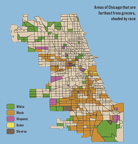 "ADAPTED FROM ""EXAMINING THE IMPACT OF FOOD DESERTS ON PUBLIC HEALTH IN CHICAGO,"" 2006, WITH PERMISSION OF MARI GALLAGHER RESEARCH & CONSULTING GROUP"