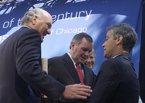 From left: Bill Daley, former Mayor Richard M. Daley, and current Mayor Rahm Emanuel in 2005