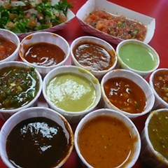 from the salsa bar at Pollo Vagabundo