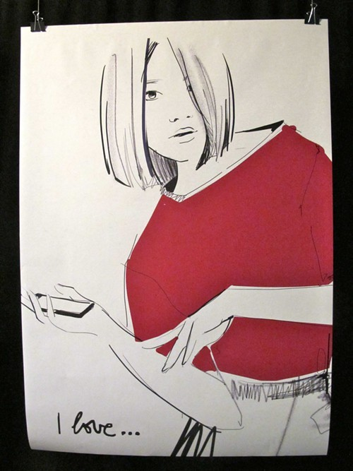 Garance Dorés illustration in a small exhibit at the event