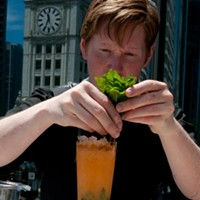 Step-by-step instructions for making Ingi Sigurdsson's sweet potato swizzle Garnish with a sprig of mint. Andrea Bauer