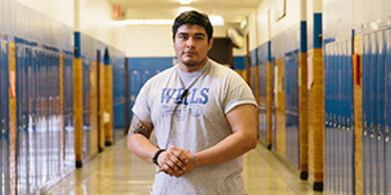 Guillermo Soto, a Wells security guard, graduated from the school in 2009. Disputes at the school usually aren't along racial lines, he says, but taunts sometimes are.