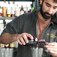 Step-by-step instructions for making Scofflaw bartender Uby Khawaja's Tomfoolery Half an ounce of raspberry syrup. Andrea Bauer