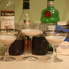 Half portions of three Alexander cocktails (one gin, two brandy)