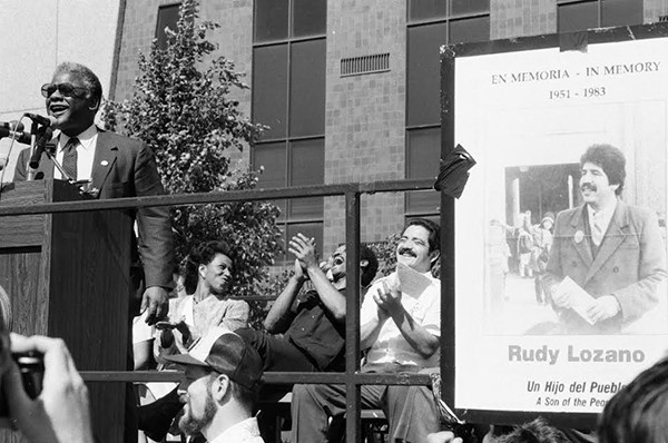 Harold Washington and Garcia at a memorial for Rudy Lozano a year after his death - CHICAGO SUN-TIMES